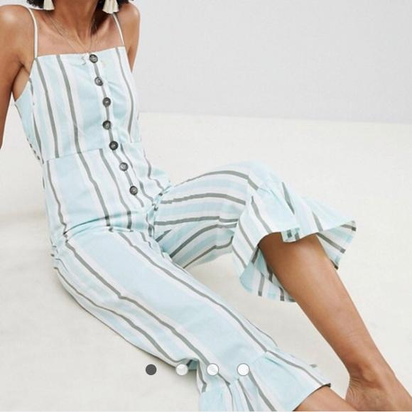 ASOS Pants - Cotton Frill Hem Jumpsuit